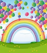 Illustration of a sky with a rainbow and a group of floating balloons