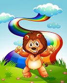 picture of hilltop  - Illustration of a happy lion at the hilltop with a rainbow in the sky - JPG