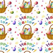Illustration of a seamless design with Easter eggs in a basket on a white background