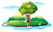 Illustration of an island with animals on a white background
