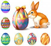 Illustration of the seven Easter eggs and a bunny on a white background