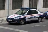 LISBON, PORTUGAL - MAY 26, 2014: Public Security Police (PSP) car on the street in Lisbon. PSP is th