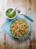 fusilli with shrimp and pesto sauce