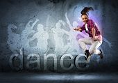 image of break-dance  - image of a young woman dancing hip - JPG