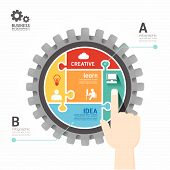 Gears Infographics Push Template Jigsaw Banner.concept Vector Illustration