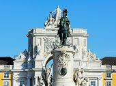 Statue Of King D. Jose I And The Arch Of Triumph Of Rua Augusta, Lisbon, Portugal