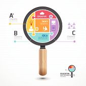 Infographic Template With Magnifier Jigsaw Banner . Concept Vector Illustration
