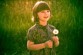 Smiling Pretty Little Girl Dandelions Field Rape