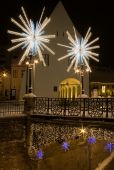 Winter Snow Christmas Lights In Town Square And Street Sibiu