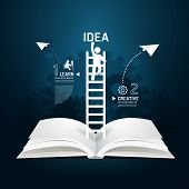 stock photo of step-ladder  - Infographic climbing ladder book diagram creative paper cut style template concept - JPG