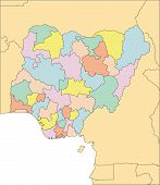 Nigeria, Administrative Districts, and Surrounding Countries