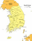 South Korea with Administrative Districts and Surrounding Countries