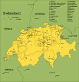 Switzerland with Administrative Districts and Surrounding Countries