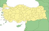 Turkey with Administrative Districts and Surrounding Countries