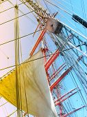 Masts and sail of sailship.