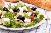 Greek Salad, Gigantic Black Olives, Sheeps Cheese, Bread
