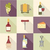 set of flat wine icons