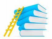 3D Ladder Along Stack Of Books