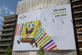 LISBON, PORTUGAL - MAY 26, 2014: SpongeBob SquarePants advertisement in Lisbon. SpongeBob is an Amer