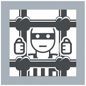 Prisoner behind bars - criminal in jail simple icon