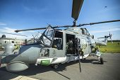 BERLIN, GERMANY - MAY 20, 2014: The Westland Lynx (Sea Lynx MK88A) a multi-purpose military helicopter, demonstration during the International Aerospace Exhibition ILA Berlin Air Show.