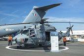BERLIN, GERMANY - MAY 20, 2014: Multi-role military helicopter NH90 for Army use and the naval NATO