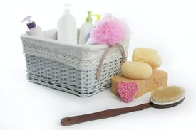 picture of gift basket  - Bath toiletries basket with shower gel shampoo sponge and towel - JPG