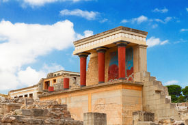 picture of minotaur  - ancient ruines of famouse Knossos palace at Crete - JPG