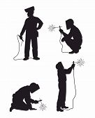 Four Welders Set silhouettes