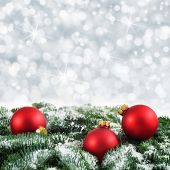 Red, Green And Silver Christmas Background