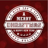Merry Christmas Vintage Lettering Design Greeting Card on Red Holiday background.  Vector illustration Happy New Year Happy Holidays Template. Retro Label.