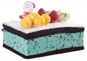stock photo of ice-cake  - cake Christmas ice cream cake on background - JPG