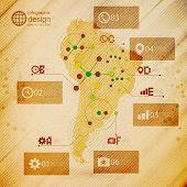 South America map, infographic design illustration, wooden background vector