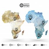 Africa map template, triangle design, infographics vector illustration