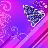 greeting card with geometric christmas tree and swirl