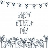 Birthday greeting card. Hand draw background with xmas design and Merry Christmas lettering