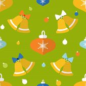 Flat Seamless Pattern With Bells And Decorations