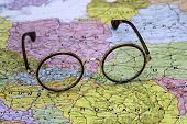 Glasses on a map of europe - Slovakia