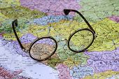 Glasses on a map of europe - Bosnia and Herzegovina