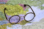 Glasses on a map of europe - Bulgaria