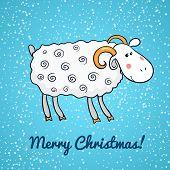 Beautiful cute vector sheep, symbol of the new year