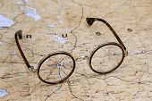 Glasses on a map of europe - Moscow