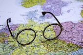 Glasses on a map of europe - Germany