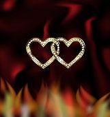 two jewel hearts and fire