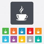 stock photo of black tea  - Coffee cup sign icon - JPG