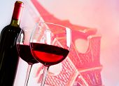 Two Red Wine Glasses On Blur Tower Eiffel Background