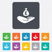 Money insurance sign. Hand holds cash bag.