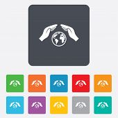Worldwide insurance sign. Hands protect cover.