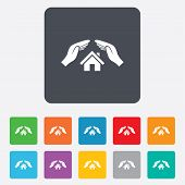 House insurance sign icon. Hands protect cover.