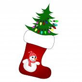 Cute Christmas Socks With Christmas Tree - Vector Cartoon Illustration